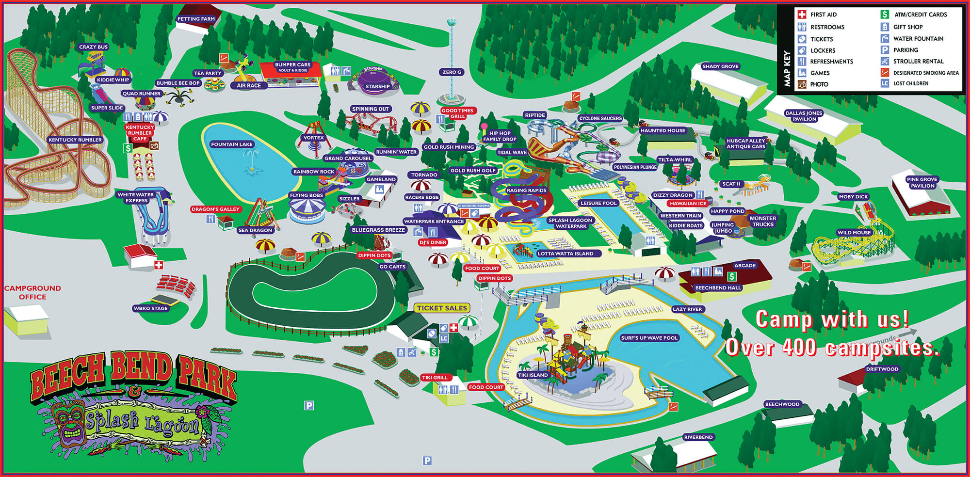 Park Map Beech Bend Amusement Park Bowling Green KY - Map of amusement parks in the us