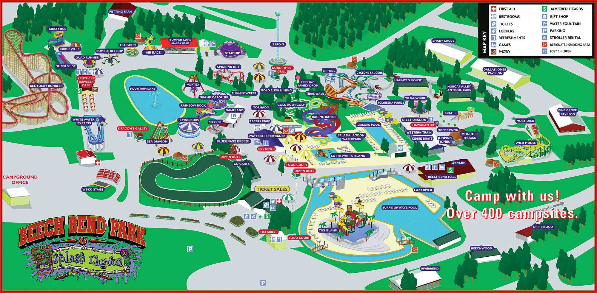 Park Map Beech Bend Amusement Park Bowling Green KY